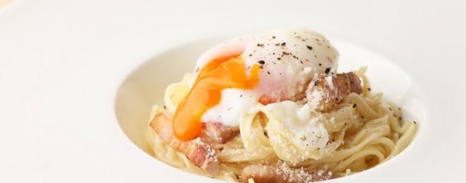 自家製ベーコンと天美卵のパスタ