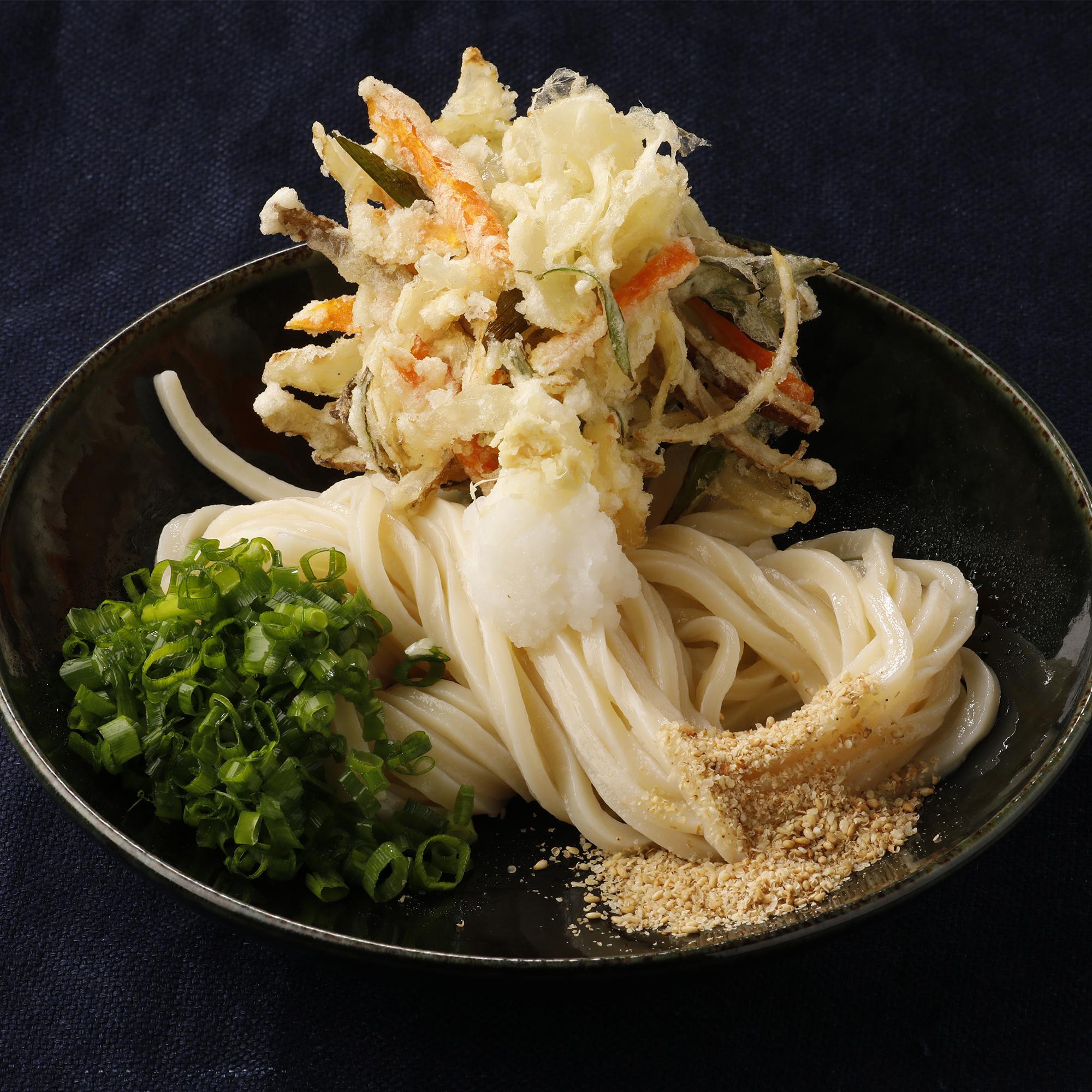 野菜かき揚げ天ぶっかけ【大江ノ郷製麺所】